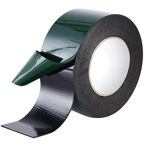 Maveek Cinta de espuma de doble cara de 10 m (50 mm), resistente al agua, cinta adhesiva de montaje para coches, color negro