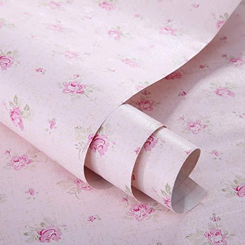 Rosa Floral Cajón Estante maletero decorativos autoadhesivos vinilo de papel de contacto Cubierta para estantes cajón muebles decoración de pared 45 x 200 cm