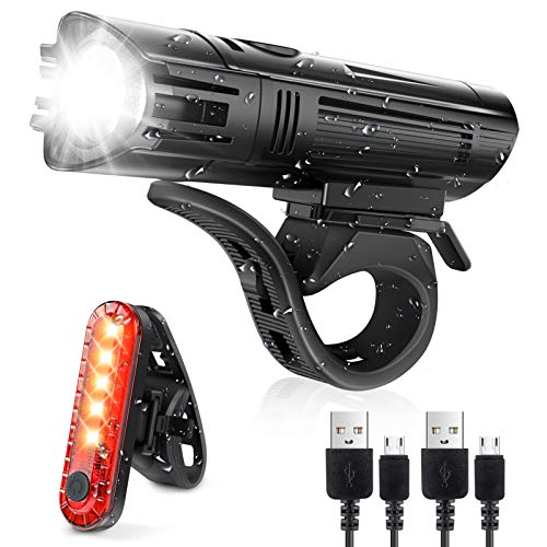 Defurhome Super Bright Bike Light Set, Powerful LED USB Rechargeable Front Headlight and Back Taillight, 2000mah Lithium Battery, Waterproof, 4 Lighting Modes Mountain Road Bicycle Lights