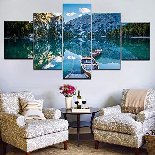 (geen lijst) HD gedrukt schilderij van hout met 5 panelen op de blauwe zee onder de hemel, moderne decoratie voor de wand (40x60 40x80 40x100)