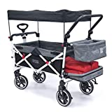 Creative Outdoor Push Pull Collapsible Folding Wagon Stroller Cart for Kids | Titanium Series | Beach Park Garden & Tailgate (Black)