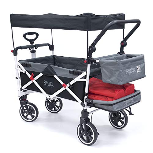 Creative Outdoor Push Pull Collapsible Folding Wagon Stroller Cart for Kids |...