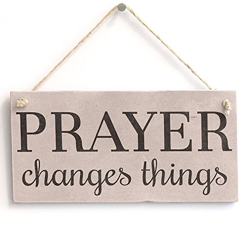 Meijiafei 'Prayer Changes Things' - Spiritual Religious Decor Sign - PVC Door Sign/Plaque 10'x5'