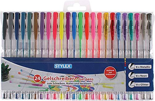 Stylex 43834 - Gelschreiber, 24 Gelstifte im Set, sortiert in 8 Metallicfarben, 8 Neonfaben und 8 Glitterfarben, zum Schreiben, Malen und Verzieren