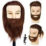 HLRM Cabeza Maniquí hombre barba y bigote 100% Pelo Natural Peluqueria practicas Formación Muñeca de la Cosmetología con soporte (adecuado para decoloración y teñido)
