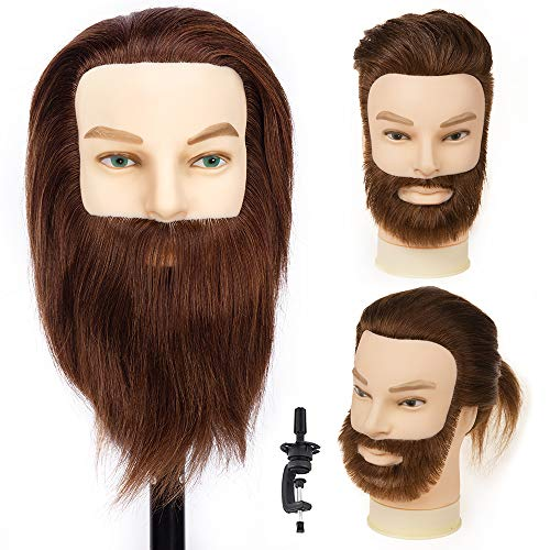 HLRM Testa per parrucchieri 100% veri capelli, Testina Parrucchiere, Testa Studio Professionale, Manichino Cosmetologia, Formazione Pratica Modello Capelli con morsetto