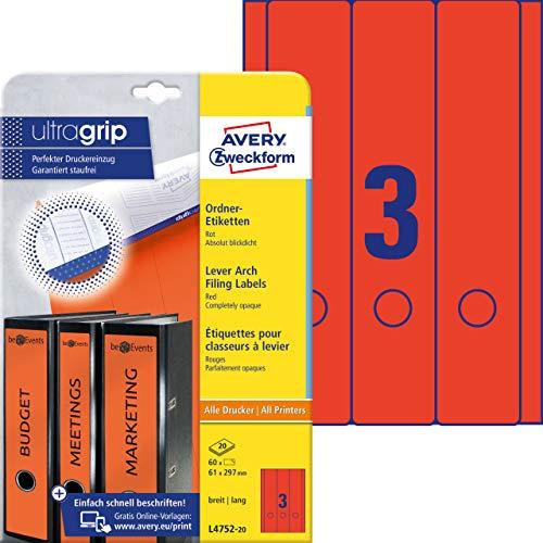 AVERY Zweckform L4752-20 Ordnerrücken Etiketten (mit ultragrip, 61 x 297 mm auf DIN A4, breit/lang, selbstklebend, blickdicht, bedruckbare Ordneretiketten, 60 Rückenschilder auf 20 Blatt) rot