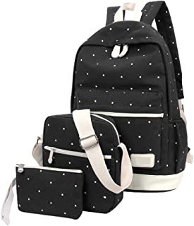 1 Set Adolescentes Mochila Set Lona Lunares Bolso de Escuela Conjunto para Chicos Chicas 3 en 1 Volver Pack (Negro)