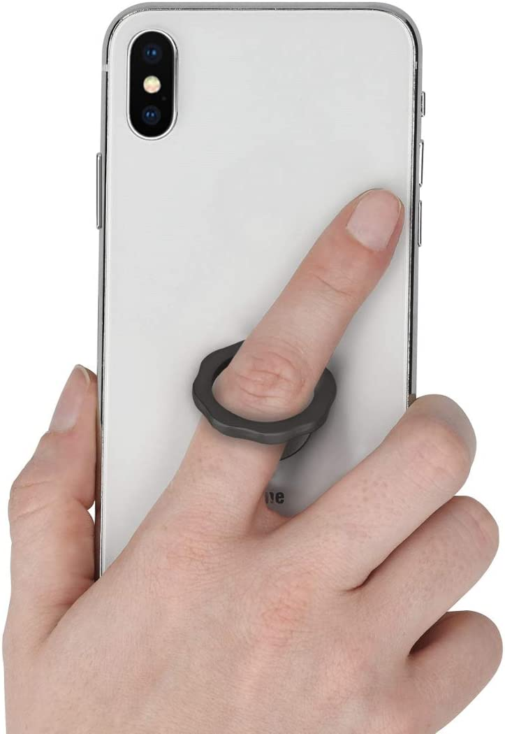 kwmobile Phone Ring Holder Stand Round Wavy Design Black Finger Grip and Kickstand for Cases and Back of Phones Self-Adhesive Stick-On Mount