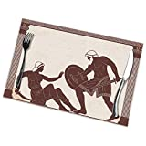 N/A 12 Exploits of Hercules Placemats Set of 6 for Dining Table Washable Polyester Placemat Non-Slip Heat Resistant Kitchen Table Mats Easy to Clean 1218inch
