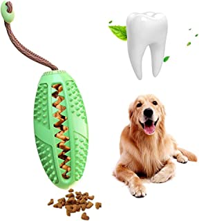 Hamkaw Dog Toothbrush Stick Nontoxic Bite Resistant Natural Rubber Puppy Chew Toy Food Treat Dispenser Feeder IQ Training Ball With Lanyard For Small Dog - Dental Care Effective Teeth Cleaning (Green)