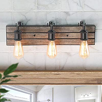 LOG BARN 3-Light Wall Lamps Wood Wall Sconces Bronze Indoor Wall Lights