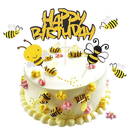 Bumble Bee Cake Topper Bumblebee happy Birthday cake topper baby gift birthday party supplies decoration birthday cake topper handmade(3psc)