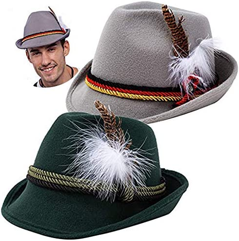 2 German Alpine Hats Costume Accessories Felt Fedora Retro Set for Adults Halloween Party Favors product image