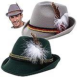 Juego de 2 sombreros alemanes alpinos accesorios de disfraz Fedora Retro Set para adultos Halloween Fiesta Favor Oktoberfest Bávaro Dress Up, Role Play y Cosplay. Verde