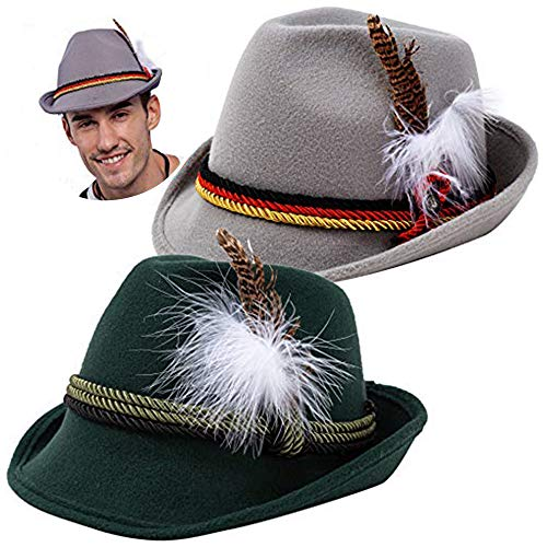 2 German Alpine Hats Costume Accessories Felt Fedora Retro Set for Adults Halloween Party Favors, Oktoberfest Bavarian Dress Up, Role Play and Cosplay. Green