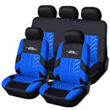 AUTOYOUTH Car Seat Covers Full Set, Front Bucket Seat Covers with Split Bench Back Seat Covers For Cars For Women Full Set Auto Parts Seat Protectors Motor Trend Car Seat Accessories - 9pcs,Blue