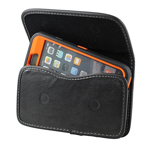 BNY-WIRELESS XXL Size Motorola Moto G4 / G4 Plus Leather Belt Clip Pouch Case Cover Holster (The Phone with Otter Box Defender/LIFEPROOF / Extended Battery or Thick Case On)