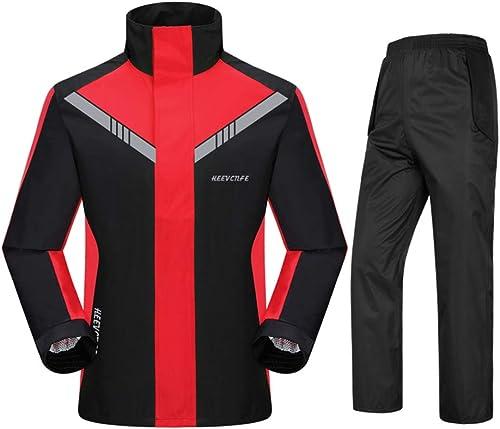 Geyao Pantalon de Pluie imperméable Moto Costume équitation Split Mode Adulte imperméable pêche extérieure Hommes et Femmes (Couleur   noir with rouge, Taille   XL)