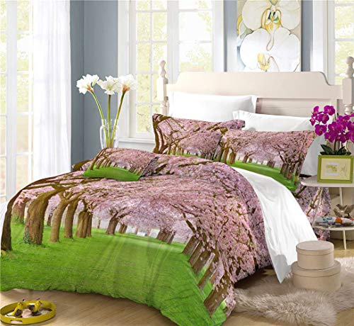 RIXI Flowers In Bloom Duvet Cover Set Cherry Blossom Bedding Sets,for Boy/Girl Bedroom,Duvet Cover with 2 Pillowcases(3PCS) or Sheet(4PCS),Single/Double/King Size (02,king(3pcs))