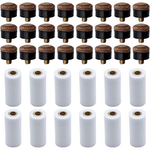 LumenTY 12mm 24 Stück Hart Cue Tipps Billard Ersatz Schraub Tipps mit 12 Pool Queue Stick Ferrules für Billardstöcke Snooker Pool Queues