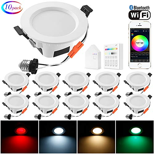 Smart LED Recessed Downlight with Touchscreen Smart Switch & Smart Bridge, FVTLED 10pcs Wireless Bluetooth Mesh 9W 4 inch 700LM 2700K-6500K Dimmable RGBWC Multicolor Color 5 in 1 Ceiling Spotlight
