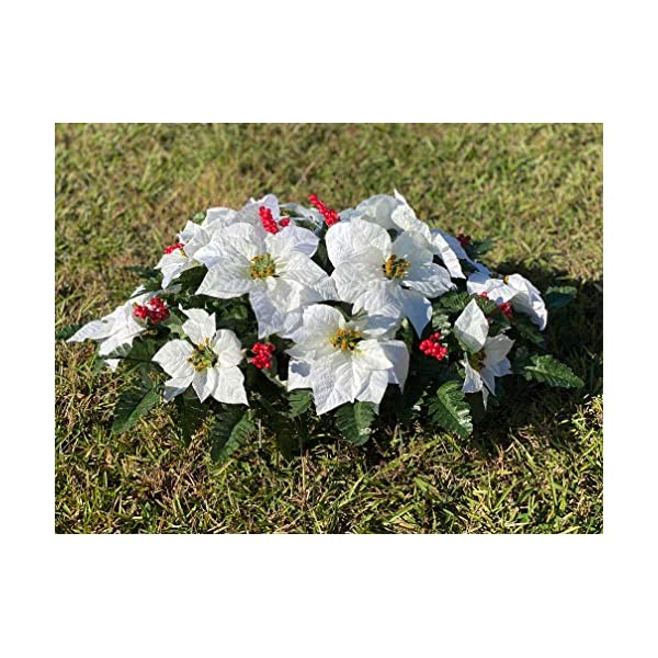 White Poinsettia Cemetery Headstone Arrangement