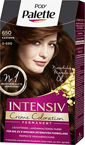 SCHWARZKOPF POLY PALETTE Intensiv Creme Coloration 650/5-680 Kastanie, 3er Pack (3 x 128 ml)
