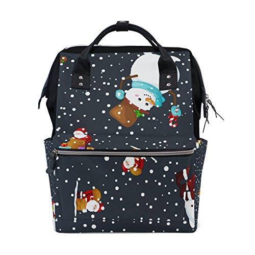 Tizorax Merry Christmas et Happy New Year Santa Claus Flocons Noir Diaper Sac à dos Grande capacité bébé Sac multifonctions Sacs à couches de voyage Maman Sac à dos pour bébé Care
