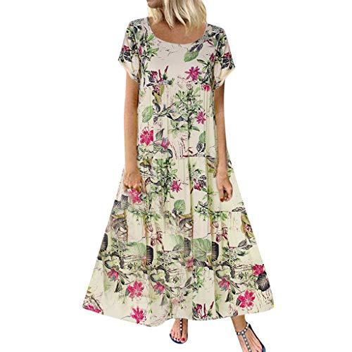 Damen Kleider Sommer O Ausschnitt Kurzarm Sexy Strandkleid Jeanskleid Kleid Großer Größe Kleid Baumwolle Leinen Bedruckt Partykleid Patchwork Maxikleid Langes Kleid (EU:40, Rot)