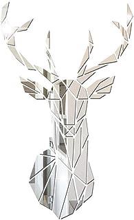 Zunbo 3D Miroir Stickers Muraux Stickers Créatifs en Forme de Cerf pour Salon Chambre Amovible DIY Miroir Stickers Décorat...