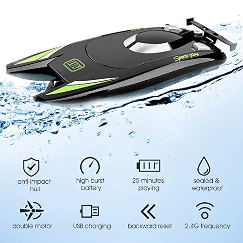 Goolsky 805 RC-Boote für Kinder Erwachsene 25 km / h Hochgeschwindigkeits-Rennboot 2-Kanal-Fernbedienungsboote für Pools Rennboot