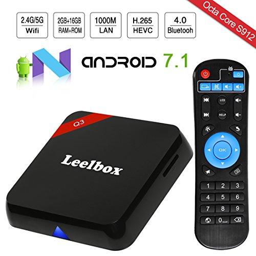 Leelbox Q3 Android 7.1 TV Box, 2GB RAM+16GB ROM Octa Core Smart TV Box de S912/ Dual-WiFi de 2.4GHz y 5.8GHz/BT 4.0/1000M LAN/H.265/4K(60 HZ)