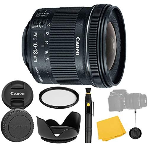 Canon EF-S 10-18mm f/4.5-5.6 is STM Lens + UV Filter + Flower Tulip Lens Hood + Lens Cleaning Pen + Lens Cap Keeper + Cleaning Cloth - 10-18mm STM: Stepper International Version (1 Year AOM Warranty)