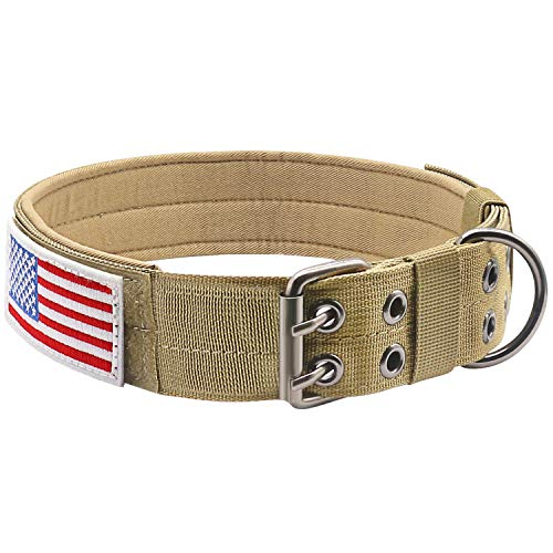 "Military Dog Collar Adjustable 1.5"" Width Nylon Tactical Dog Collar Working K9 Collar with Metal D Ring & Buckle"