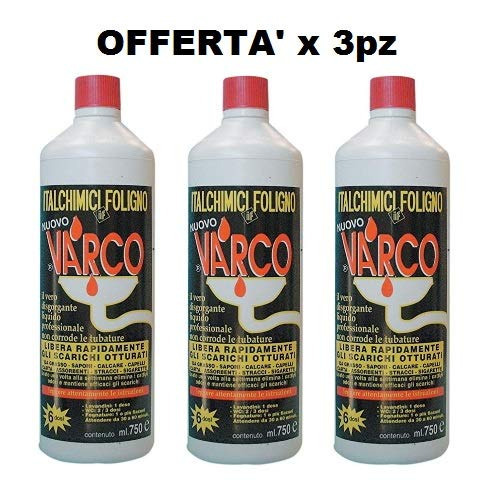 ITALCHIMICI GROUP Pz3 VARCO Disgorgante Liquido 750ml Professionale sturalavandini Sgombratubi Rapido