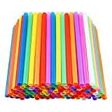 200 PCS Jumbo Smoothie Straws, Colorful Disposable Plastic Large Wide-mouthed Milkshake St...