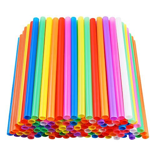 200 PCS Jumbo Smoothie Straws, Colorful Disposable Plastic Large Wide-mouthed Milkshake Straw (0.43