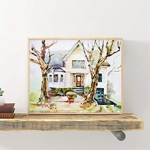 wZUN Decoración del hogar casa de Estilo nórdico Pintura Abstracta de Acuarela póster Arte de Pared Lienzo Grabado Cuadro de Pintura para Sala de Estar 60x80cm Sin Marco