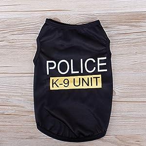 Rungao Police Patten Chat Petit Chien Chiot Gilet T-shirt pour animal domestique Vêtements d'été Apparel Costumes