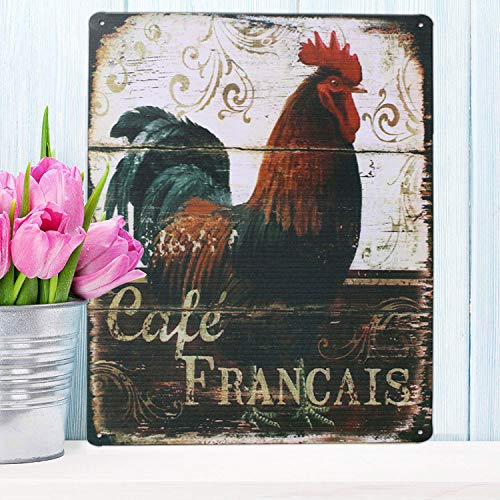 Rooster Retro Metal Sign Plate, Antique Plaque Rustic Poster Kitchen Cafe Dining Room Home Wall Decor (Dark Red)