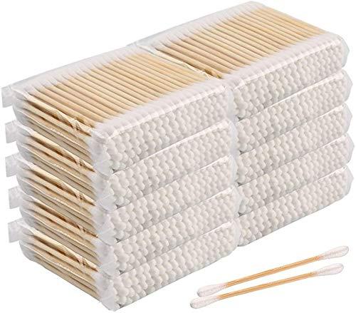BEAUTYBIGBANG 2021 1000PCS Cotons-tiges double tête Bâtons de maquillage Biodégradables en Bambou de Culture Biologique | Écologique et Polyvalent | Bâtonnets en Coton