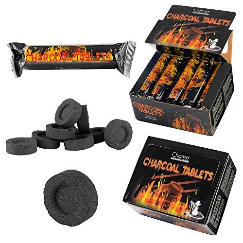 Taffstyle® 100 Stück Shisha Hookah Wasserpfeife Smoking Kohle Holzkohle schnellzündend - 33 mm 10 Rollen