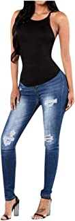 LILICHIC Women's Butt-Lifting Skinny Jeans Straight Shaping Skinny Ripped Destroyed Denim Stretch Leggings Trousers