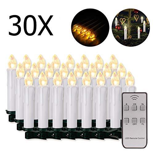 20/30/40/50/60 stk LED Kerzen LED Lichterkette Kabellos Dimmbar Kerzenlichter Flammenlose Weihnachtskerzen für Weihnachtsbaum, Weihnachtsdeko, Hochzeit, Geburtstags, Party (weisse Hülle, 30stk)