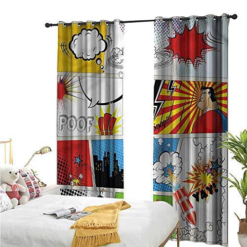Flora Grant venster gordijn voor woonkamer, Superheld, Pop Art Style Humorous, slaapkamer raam verduistering gordijnen