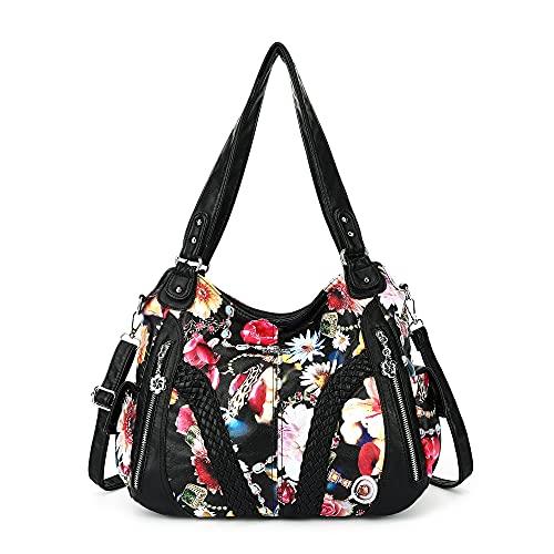Angelkiss Women Top Handle Satchel Handbags Shoulder Bag Messenger Tote Washed Leather Purses Bag (Black-Flower) …