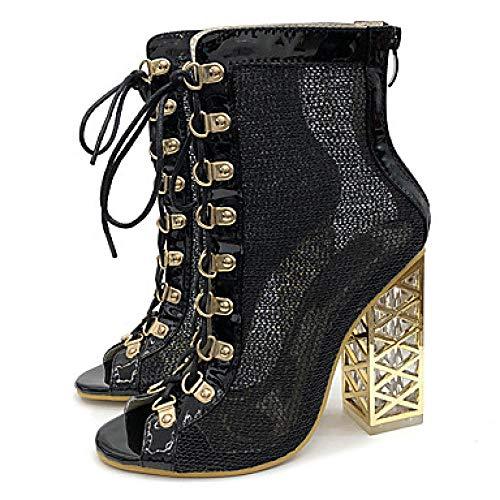 LYWNXEZ Synthetische dameslaarzen, herfst/lente/zomer/Britse laarzen, Chunky Heel met haken, Peep Ton, goudkleurig/zwart/bruiloft/party & avonds