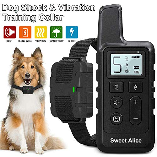 Dog Shock Collar with Remote Rechargeable,Training Collar for Dogs Waterproof,W/3 Training Modes,Beep,Vibration and Shock,1050 Ft Remote Range,1-5 Shock Levels E Collars for Small Medium Large Dogs