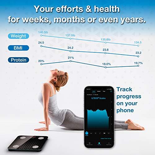 51RLUStaxdL - ILTECO Báscula de Baño Grasa Corporal y Muscular Inteligente, Báscula de precisión digital con Tecnología Bluetooth, APP 13 análisis (IMC, Peso Óseo, Masa, Agua etc) conexión Android e iOS Negro